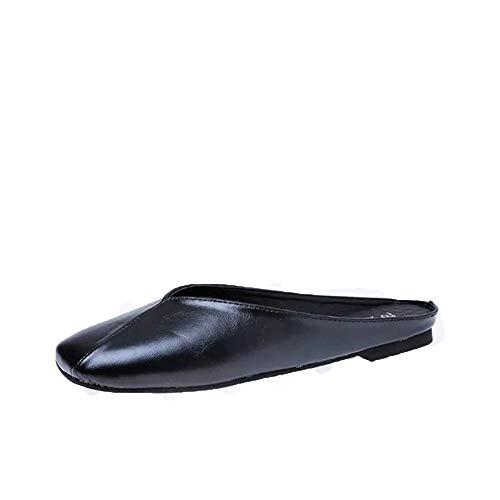 KCatsy Fashion Slippers Retro Leather Square Head Women's Shoes Black
