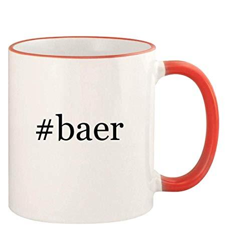 #baer - 11oz Hashtag Colored Rim and Handle Coffee Mug, Red ()