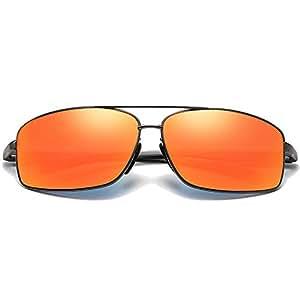 Fashion Blue/Orange Men's Color Driving Driving Sunglasses New Polarized Aluminum Magnesium Sunglasses Retro (Color : Orange)