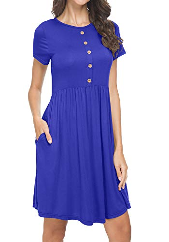Womens Summer Pleated Short Sleeve Loose Casual Beach Pockets Dress Blue M