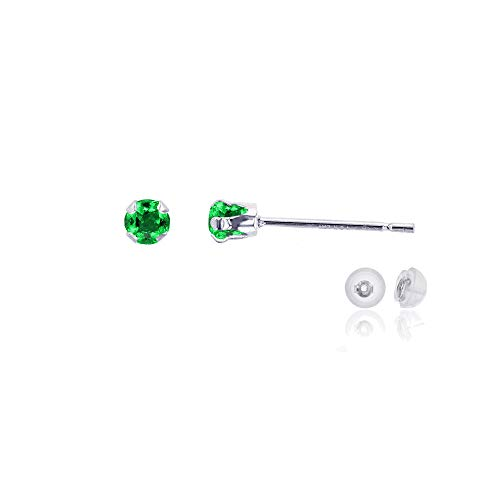 Genuine 10K Solid White Gold 3mm Round Created Green Emerald May Birthstone Stud Earrings 10k White Gold Green