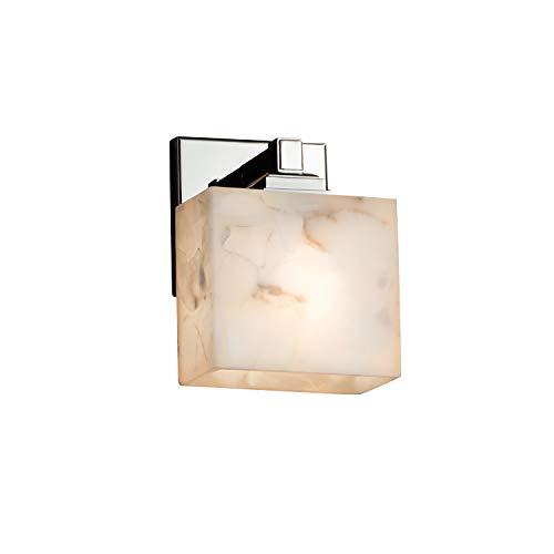 Justice Design Group Lighting ALR-8437-55-CROM Justice Design Group - Alabaster Rocks! - Regency 1-Light Wall Sconce - Rectangle - Polished Chrome Finish with Alabaster Rocks Shade,