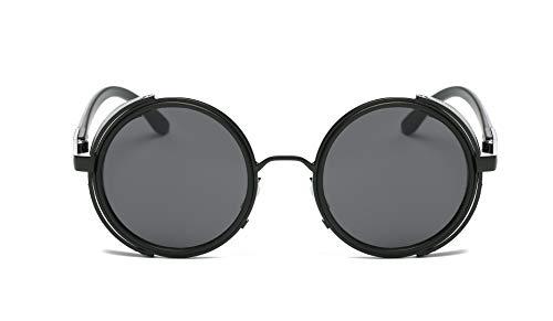 DMKJ Small Round Polarized Sunglasses Mirrored Lens Unisex Glasses 2019 (Black Frame/Grey Lens)
