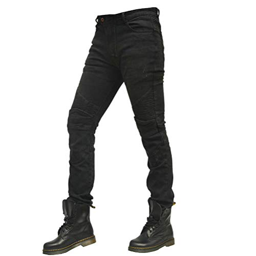 Men Motorcycle Riding Denim Jeans Slim Fit Cycling Pants with 4 X Protect Pads Equipment (Black, S=28) ()