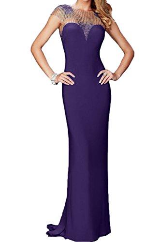 Fest sera alta pietre abito ivyd del della Qualità Rueckenfrei da breve vestito Prom Abito qualità Violett partito maniche abito linea di ressing Alta Donna wq78CUwB