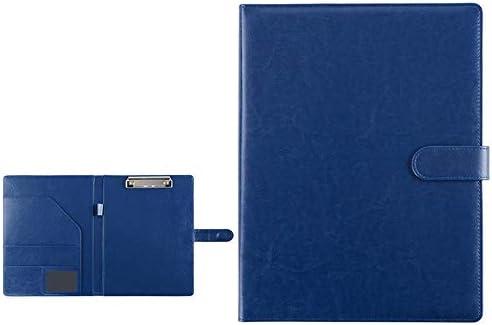WZJN Konferenzordner Leder Resume-Aktentasche Business School Büro-Sitzungs-Interview/Legal Document Organizer und Visitenkartenhalter Writing Board 320x248mm (Color : Blue, Size : 320x248mm)