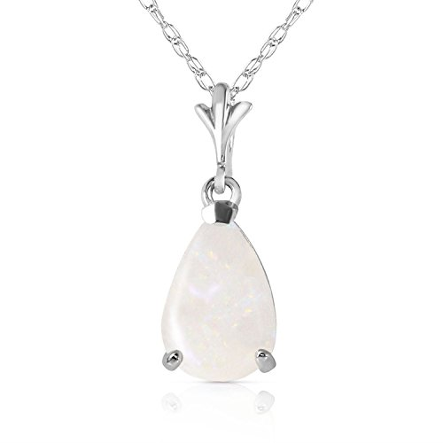 ALARRI 0.77 Carat 14K Solid White Gold Necklace Natural Opal with 22 Inch Chain Length by ALARRI