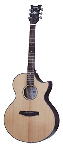 Schecter 6 String Orleans Stage Acoustic, Natural Satin Top-Vampyre Red Body (3711)