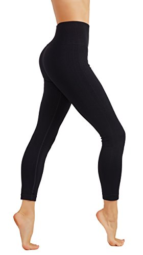 Nylon Opaque Leggings (CodeFit Yoga Premium Thick High Waist Tummy Control Non See-Trough Solid Color Workout Leggings Capri And Ankle Length (L USA 8-10, WL16 7/8-BLK))
