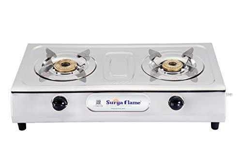 Surya Flame 2B Majestic Stainless Steel Brass Burner Gas Stove (2 Burner). Price & Reviews