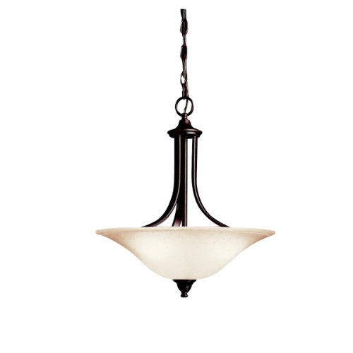 Pendant Bowl Large Glass (Kichler 3502TZ Dover Pendant/Semi-Flush 3-Light, Tannery Bronze)