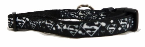 Superman White Logo Paint Splatter Little Dog or Cat Collar 1/2 Inch Width 9-13 Inch
