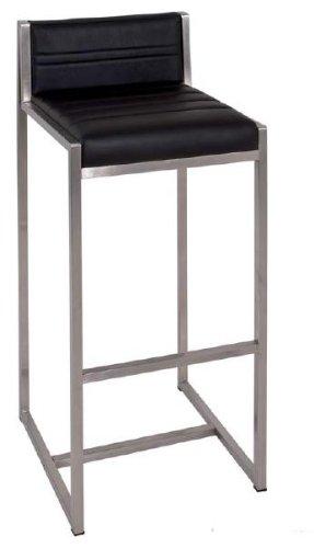 Zweier Hocker-Set für Küche und Bar aus Edelstahl poliert mit echt Leder