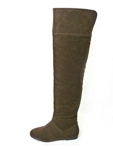 Damenstiefel mit flacher Stulpe, Overknees-Schlupfstiefel, Größe 35,5-42 Brown Faux Suede (Over Knee)
