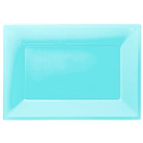 Amscan Plastic 3 Serving Platters, Powder Blue 997433