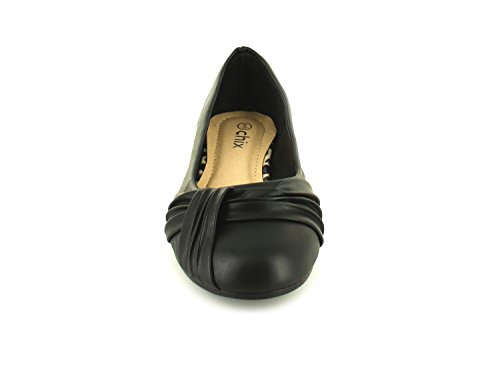 New Ladies/Womens Black Smart Ballerina Shoes with Ruched Detailing - Black - UK Sizes 3-8 iV7Y8G