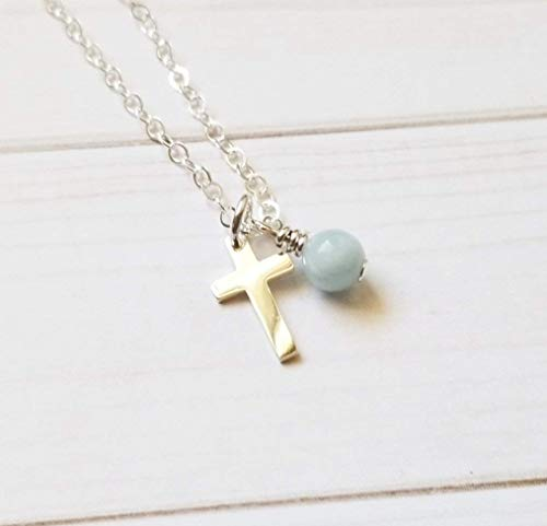Simple Cross Necklace Sterling Silver with Blue Aquamarine Stone, Christian Gift Handmade (Aquamarine Box Gift Genuine)