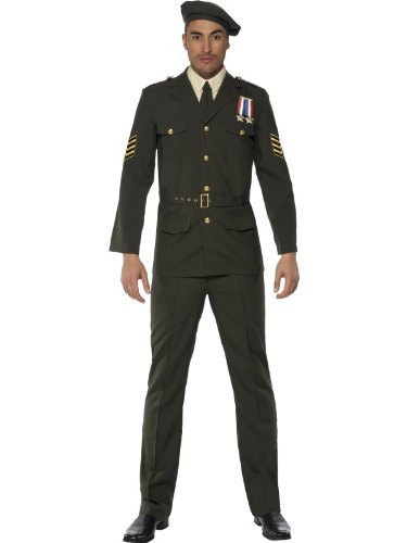 Mens Wartime Officer Costumes (Fancy Dress To Impress Men's Fancy s To Impress Wartime Fancy U Army Officer Costume Chest Leg Inseam Large Green)