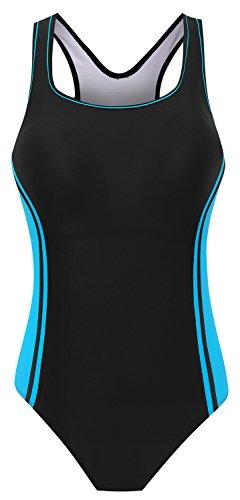 DANIFY Womens Backless Splice One Piece Swimsuit Sports Swimwear, 4-blue, US10