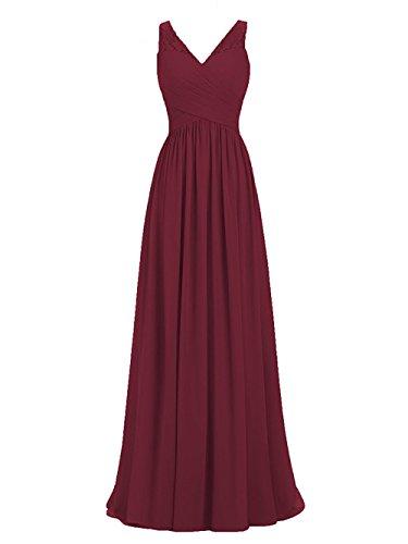 Für Hochzeit Elegant Brautkleid Spitze Ballkleider Damen Abendkleider Chiffon Burgund Carnivalprom XwTqI7By