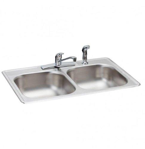 Elkay HD348961LFR Neptune Top Mount 33x22x7 in. 4-Hole Double Bowl Kitchen Sink in Satin Stainless Steel