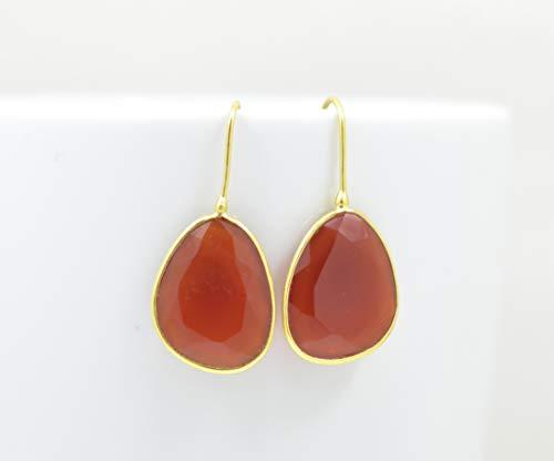 Big Organic Shaped Carnelian Gold Plated Drop Earring Silver 925, Long Orange Gemstone Vermeil, Large Statement