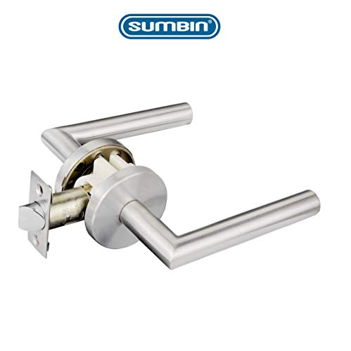 SUMBIN Modern Passage Lever Door Handle for Hall and Closet Door,Satin Stainless Steel Door Handle,Adjustable 2-3/8 Inch to 2-3/4 Inch Latch Backse