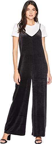 Juicy Couture Women's Track Lightweight Velour Wide Leg Romper with Tee Pitch Black X-Large