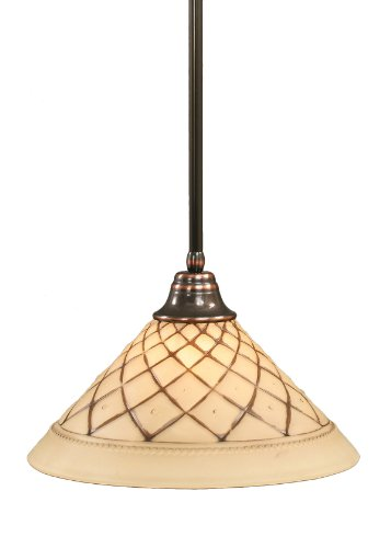- Toltec Lighting 26-BC-718 Stem Pendant Light Black Copper Finish with Chocolate Icing Crystal Glass Shade, 16-Inch