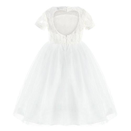 ACSUSS Girls Elegant Satin Lace Splice Flower Dress Wedding Bridesmaid Ball Gown Tutu Dress Ivory&White 2]()