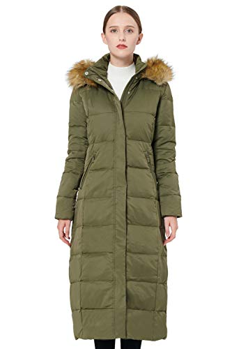 Orolay Women's Maxi Puffer Down Coat with Faux Fur Hood Green L (Best Faux Fur Coats On The High Street)