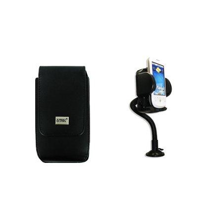 EMPIRE Apple iPhone 3G / 3GS / 4 / 4S Noir Vertical Leather Cuir Case Étui Coque Pouch + 360 Degree Rotatable Voiture de pare-brise