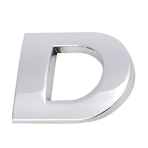 Naladoo Personalized Fashion 3D DIY Metallic Alphabet Sticker Car Emblem Letter Silver Badge Decal (D)