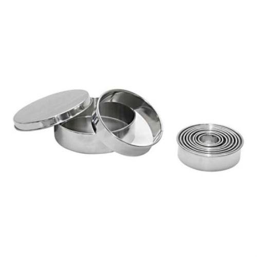 De Buyer Professional Set of 9 Round Stainless Steel Pastry Cookie and Dough Cutters Ranging from 3 to 11 cm 3323.00N