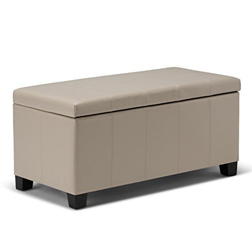 Simpli Home AXCOT-223-CR Dover 36 inch Contemporary  Storage Ottoman in Satin Cream Faux Leather (Faux Leather Durability)