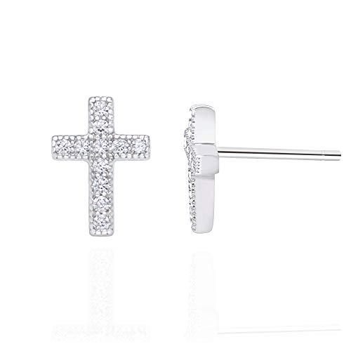 Spoil Cupid 925 Sterling Silver Cubic Zirconia Classic Mini Cross Crucifix Stud Earrings