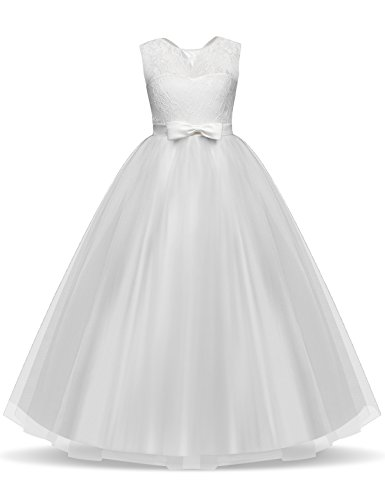 TTYAOVO Girls Pageant Ball Gowns Kids Chiffon Embroidered Wedding Party Dress Size 12-13 Years White