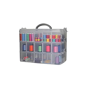 Bins & Things Storage Container with 30 Adjustable Compartments for Storing & Organizing Sewing Embroidery Accessories Threads Bobbins Beads Beauty Supplies Nail Polish Jewelry Arts & Crafts