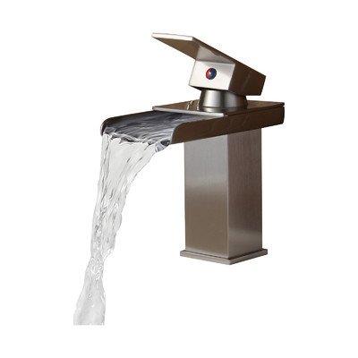 Single Handle Bathroom Sink Waterfall Faucet Finish: Brushed Nickel