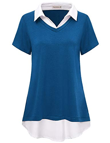 (Miss Fortune XL Loose Tunic Ladies Tops Outgoing Holiday Knit T Shirt 2-Tone Collar V Neck 2 in 1 Blouses for Work Wear Retro Woven Trim Layering Tunics Royal Blue)