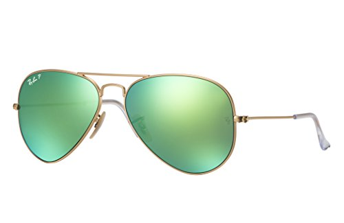 Ray-Ban RB3025 Aviator Sunglasses (58 mm, Gold Metal Frame/Polarized Green Flash - Ray Lens Green Ban