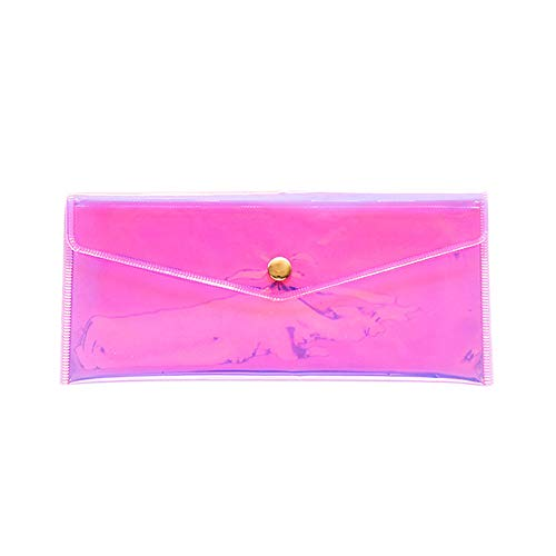 Transparent Pencil Case Laser Design Button Makeup Bag Waterproof Coin Pouch Pencil Pouch Cosmetic Stationery Storage Pouch (Pink)