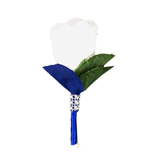 White Rose Boutonniere with Royal Blue Ribbon