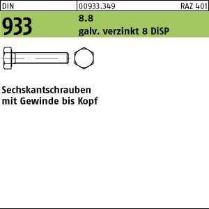 50 Sechskantschrauben DIN 933 8.8 DiSP M16x35