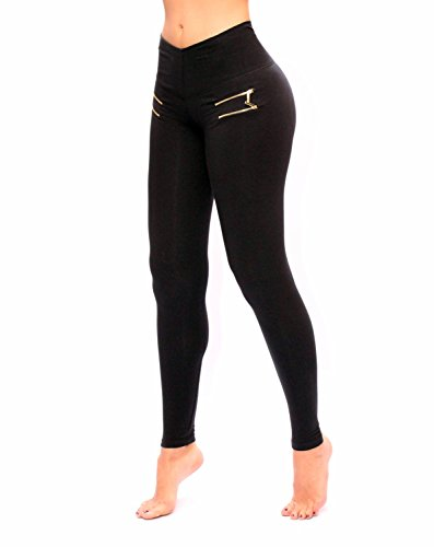 Women Black With Front Zipper Leggings With Slim And Tone Control By Bon Bon Up