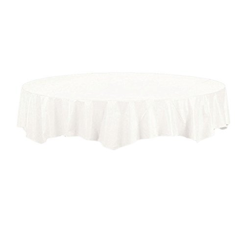 Creative Converting Touch of Color White Round Tablecover (2 Pack)
