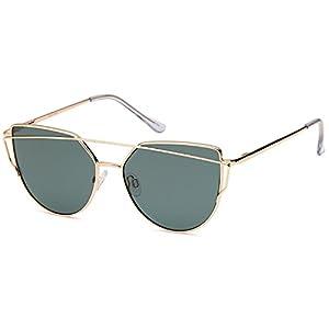 QINKY Womens Cat Eye Aviator Metal Frame Cross Bar Sunglasses with Mirror Flash Flat Lens