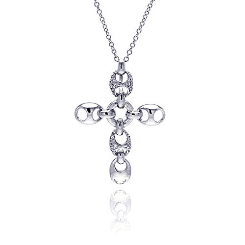 (Aienid 925 Sterling Silver Rhodium Plated Open Oval Crystal Cross Pendant Necklace for Women 18 Inches)