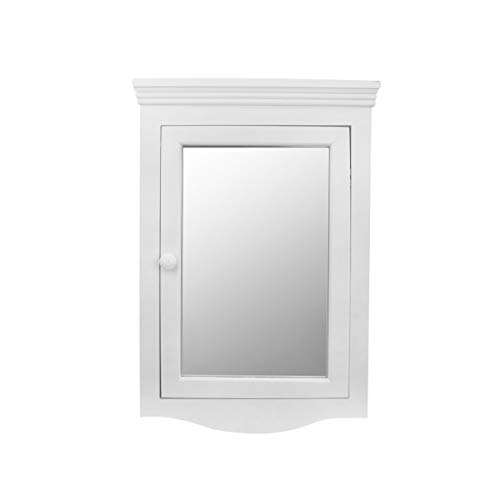 Corner Medicine Cabinet White Hardwood Wall Mount Recessed Mirror Easy Clean | -
