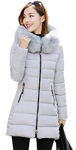 Coat Grey Faux Warm Winter Womens TTYLLMAO Long Parka Jacket Hooded Fur Lining Long Sleeve Thicken x0wOwq6Zg